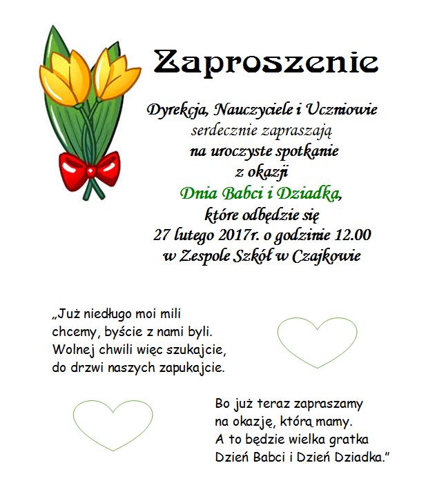 Zaproszenie Na Dzień Babci I Dziadka Publiczna Szkoła Podstawowa W